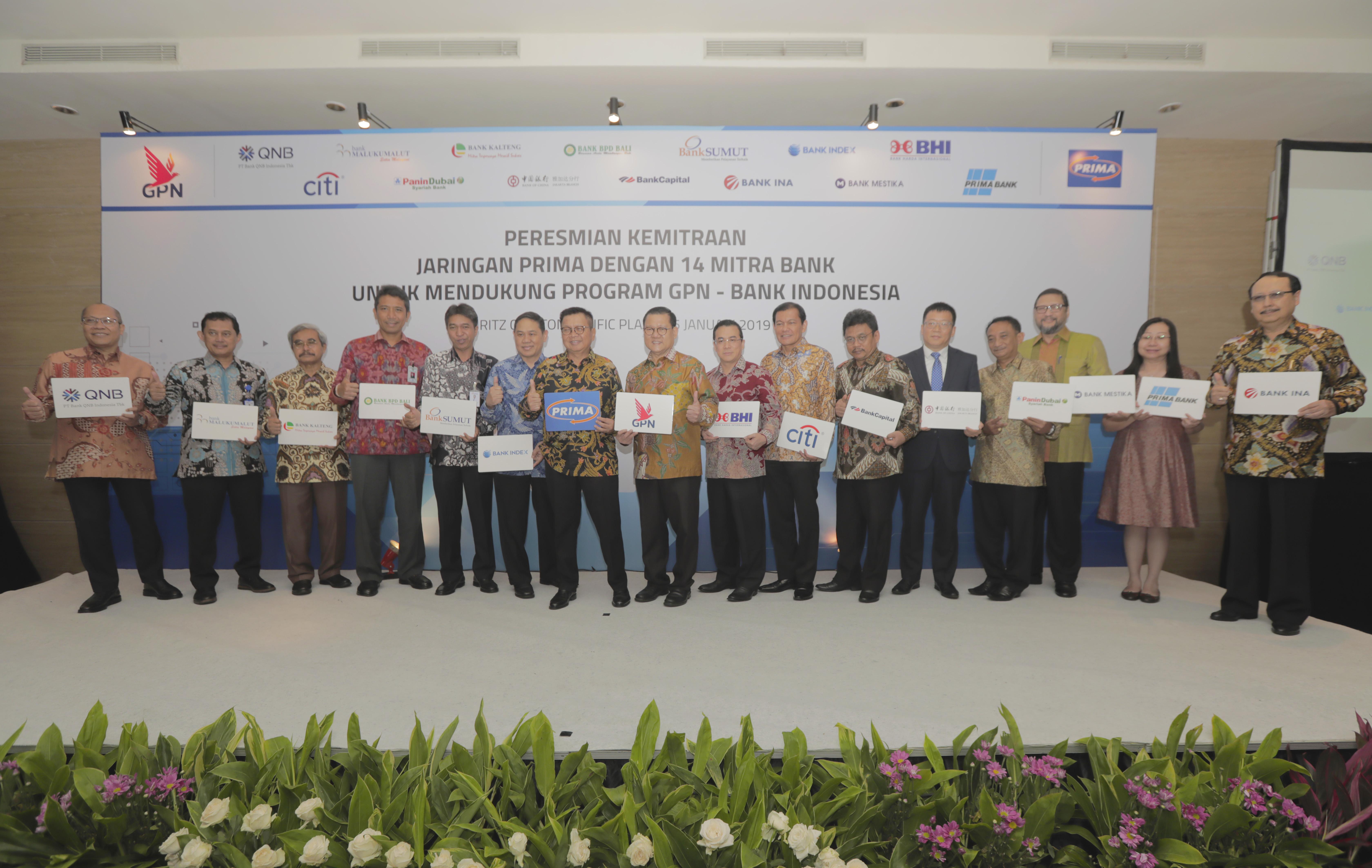 Peresmian Kemitraan Jaringan PRIMA dengan14 Mitra Bank untuk mendukung program GPN – BANK INDONESIA