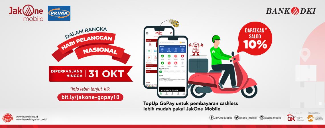 Dapat Saldo 10% dengan Top-Up GoPay melalui JakOne Mobile