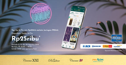 TOP UP M-TIX VIA JARINGAN PRIMA BONUS CASHBACK 25 RIBU