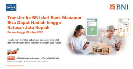 Transfer ke BNI Dari Bank Manapun, Bisa Dapat Hadiah Hingga Rp 625 Juta